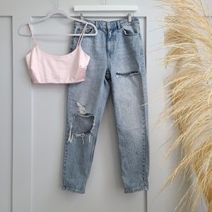 Topshop mom jean with rips in bleach